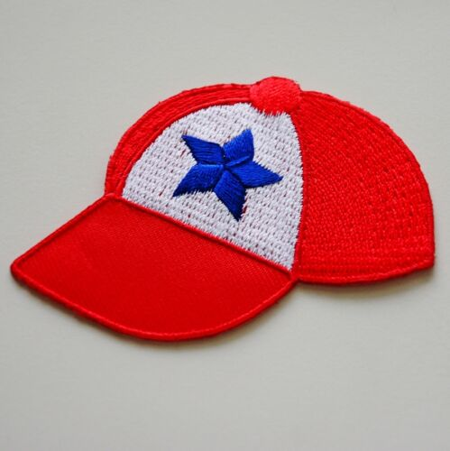 1x Beautiful Red Hat Cap Shirt Embroidered Sew Iron on Patch DIY Baseball USA