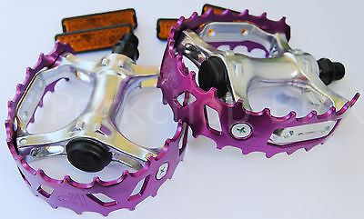 "Old school BMX XC-II VP-747 bear trap pedals 9/16"" (FOR 3 PIECE CRANKS) PURPLE"