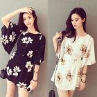 2016 Women Summer Fashion Korean Chiffon Print Floral Tunic Flare Sleeve Dress
