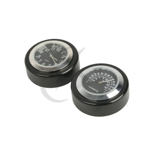 Motorcycle Bike Windshield Screen Black Dial Temp Thermometer Clock For Harley