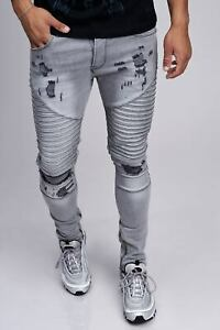 Biker-Uomo-Grigio-Jeans-Destroyed-Denim-Jeans-Pantaloni-RIPPED-slim-fit-John-Kayna