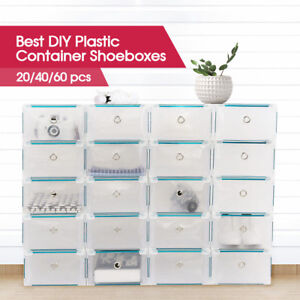 20-40-60pcs-Stackable-Foldable-Clear-Shoe-Storage-Cases-Drawer-Boxes-Wardrobe