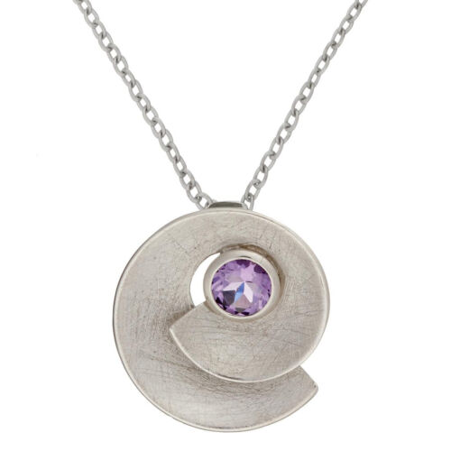 Silverly 925 Sterling Silver Amethyst Round Spiral Shell Pendant Necklace