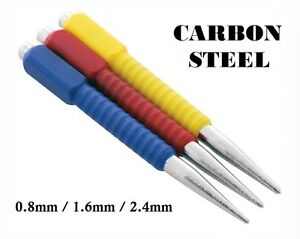 HEATED CARBON STEEL NOT ALLOY  *NEW* COLOUR CODED 3 PIECE CENTRE PUNCH SET