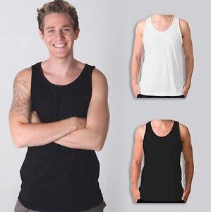Mens Plain 100% Cotton Singlet Blank Basic Adults Tank Top T-Shirt