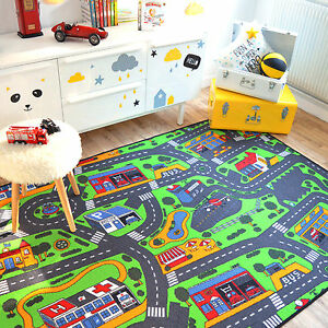 tapis de jeux circuit de voitures ville 145x200 cm chambre enfant gar on fille ebay. Black Bedroom Furniture Sets. Home Design Ideas