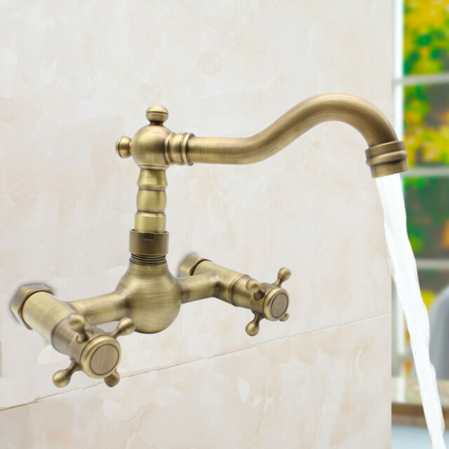 Wall Mount Antique Brass Kitchen Faucet Bath Tub Sink Mixer Tap Dual Handle  NEW