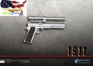 Echelle-1-6-M1911-Argent-pistolet-gun-fusil-militaire-PHICEN-DiD-BBI-Toy-US-Vendeur