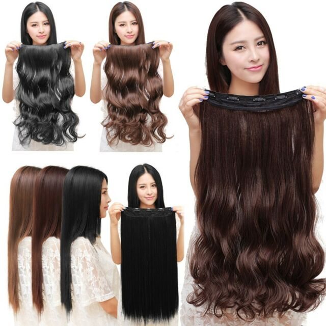 Fashion 3/4 full head Clip In Hair Extensions straight curly with 5 clips long