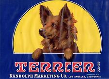TERRIER LEMON CRATE LABEL LOS ANGELES ORIGINAL 1930S CALIFORNIA VINTAGE DOG