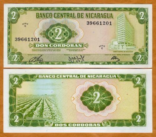 Nicaragua 1972 2 cordobas UNC Pick 121 C-Serie
