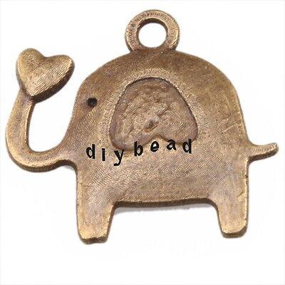 100 144309 Wholesale Charm Elephant Heart Antique Bronze Alloy Pendants Findings