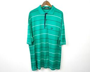 FRED-PERRY-Men-039-s-2XL-Polo-Shirt-100-Cotton-Striped-Green-Short-Sleeved-VTG-Top