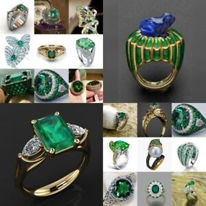 Emerald-Green-Gemstone-925-Silver-Evening-Party-Ring-Fashion-Jewelry-Size-6-10