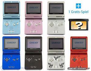 GameBoy-Advance-SP-GBA-SP-Konsole-Farbe-nach-Wahl-GRATIS-Spiel-Kabel