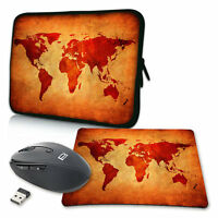 Notebook Laptop Tasche + Mauspad / Maus 10 13 15 17 Zoll Hülle, Brown Global Map