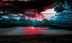 Cielo Rosso Di Notte.Framed Print Red Sky At Night With Storm Clouds Picture Poster
