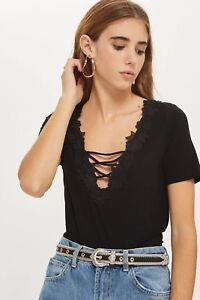 TOPSHOP-Black-Floral-Applique-T-Shirt-Brand-new-with-tags-size-8-amp-10-amp-6