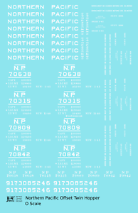 K4 O Decals Northern Pacific Offset Twin Hopper White