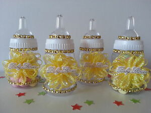 12 Yellow Fillable Bottles Baby Shower Favors Prizes Game Girl Or