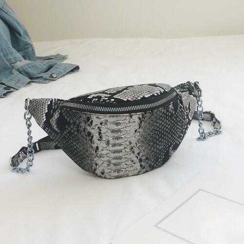 Snake Print Waist Fanny Pack Shoulder Chest Handbags Women/'s PU Cross-body Bags