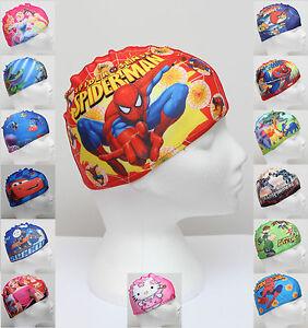 Image is loading Cartoon-Kids-Childrens-Childs-Fabric-Swimming-Hat-Swim- 7ec80385b