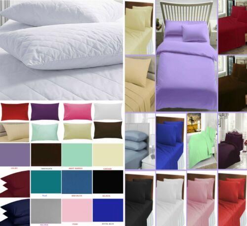 Uni Drap Plat Oreiller Protecteurs 100/% coton égyptien mélangé toutes les couleurs