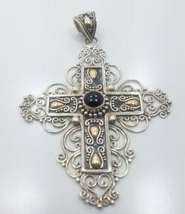 Beautiful-Sterling-Silver-925-Barse-18k-Yellow-Gold-Cross-Pendant-Charm