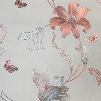 AMELIA METALLIC STONE ROSE FLOWER FLORAL FEATURE VINYL WALLPAPER MURIVA 701410