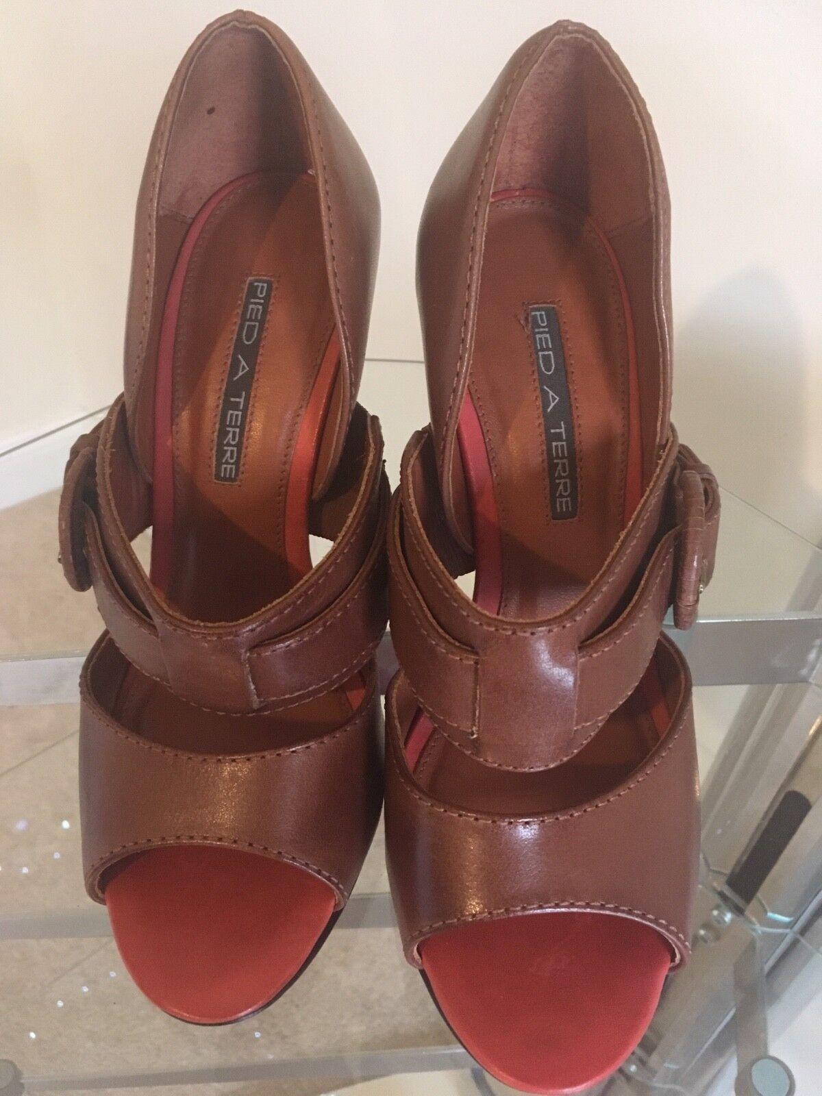 Bottines Femmes PIED A TERRE Tan et Corail Bout Ouvert Chaussures En Cuir Sandales RARE UK 4 (37)
