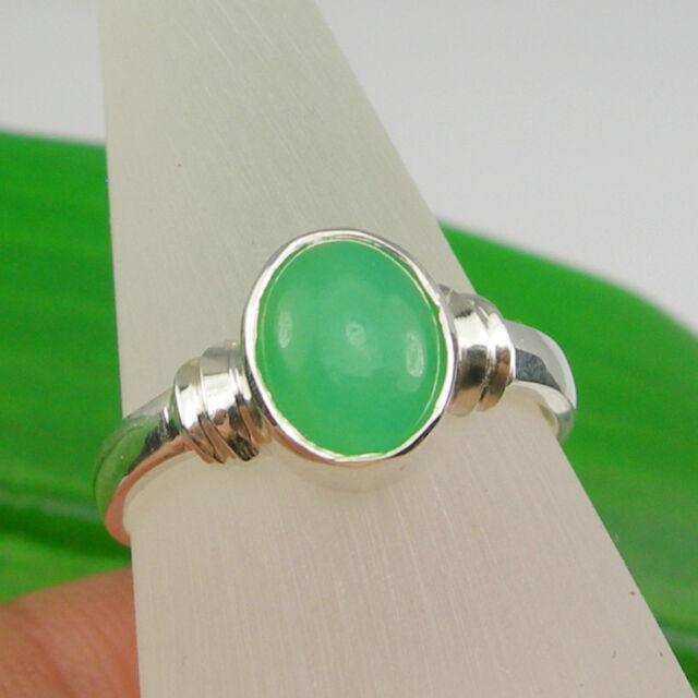 2.18 carat Translucent Chrysoprase Bezel Ring Genuine 925 Sterling Silver - R399