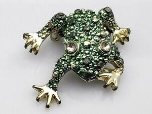Vintage-Frog-Brooch-Scatter-Pin-Green-Enamel-Gold-Tone-Metal-Figural-Animal