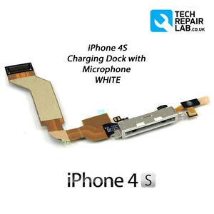 Ricambio-iPhone-4S-Banchina-Per-Ricarica-Porte-Assemblaggio-con-microfono-BIANCO