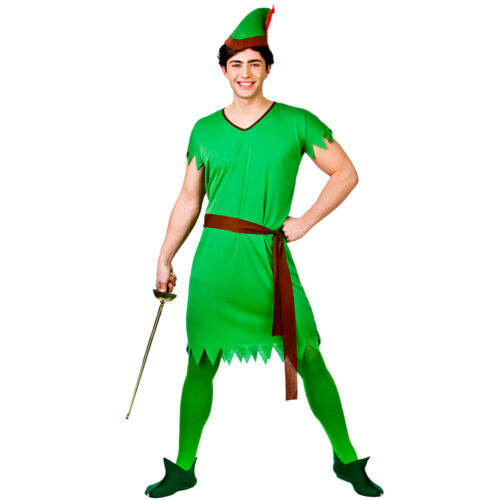 Adults Robin Hood Costume Storybook Lost Boy Green Elf Mens Fancy Dress New