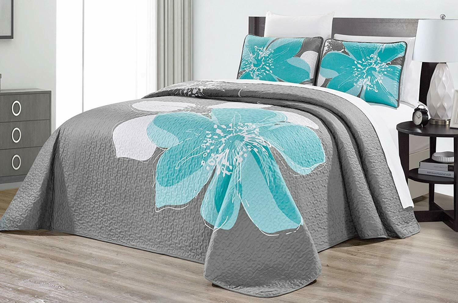Picture of: Turquoise Blue White Grey Orange 2 Piece Fine Printed Quilt Set Reversible Bedspread Coverlet Twin Size Bed Cover Imprezowedekoracje Pl