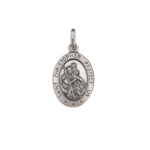 925 sterling silver antique finish st christopher pendant necklace image is loading 925 sterling silver antique finish st christopher pendant aloadofball Choice Image