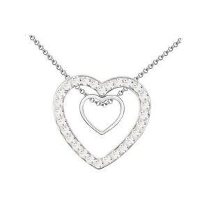 Double-Heart-Silver-Pendant-Crystal-Clear-Necklace-Christmas-Gift-Present-UK