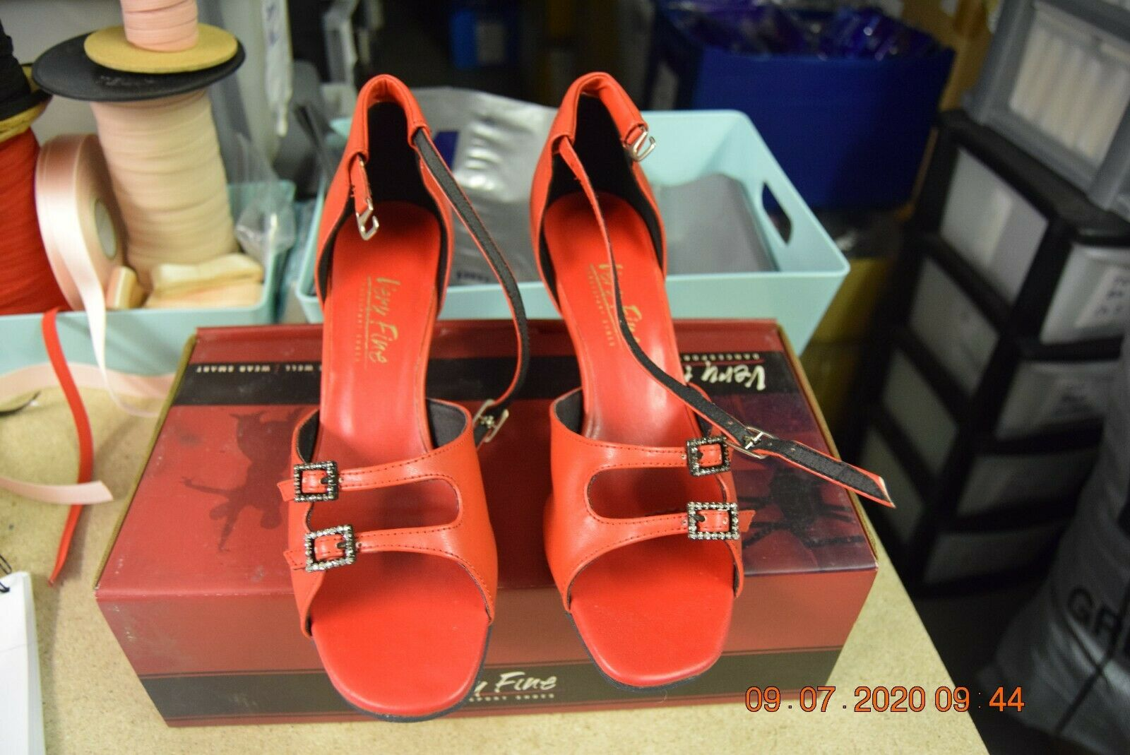 Red two buckle Very Fine ballroom latin dance shoes - size UK 6