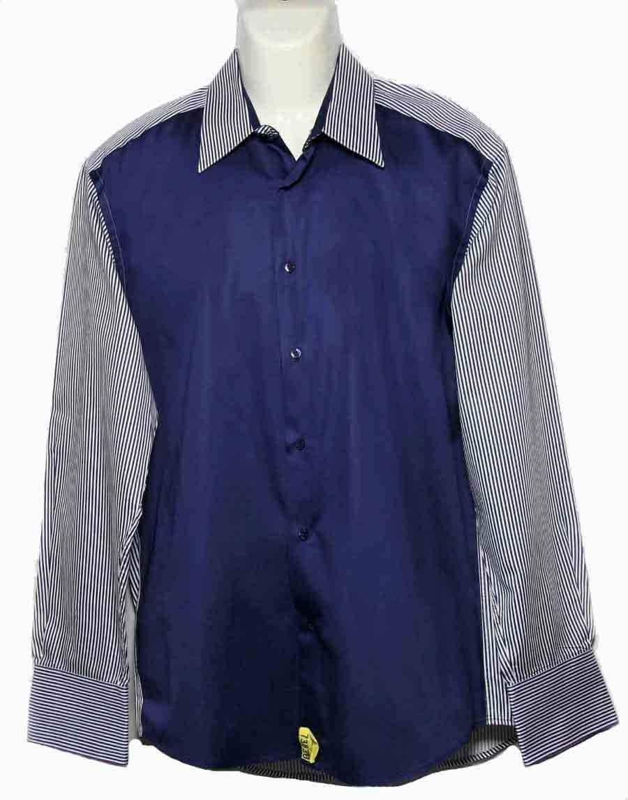 Mens Christian Couture  Shirt Navy Striped Size Slim XL