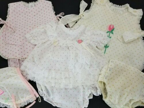 Vintage Floral Pattern Baby Girl Dresses with Bloo