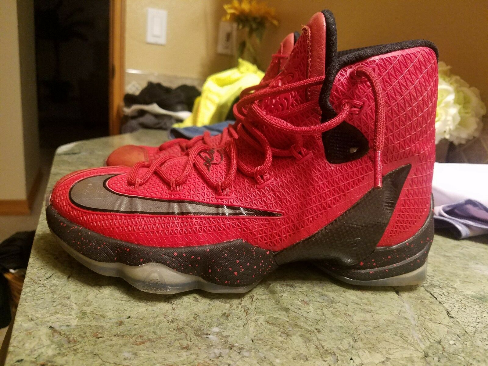 Nike LeBron 13 Elite 831923-606 Red & Black High Top Basketball shoes  7M