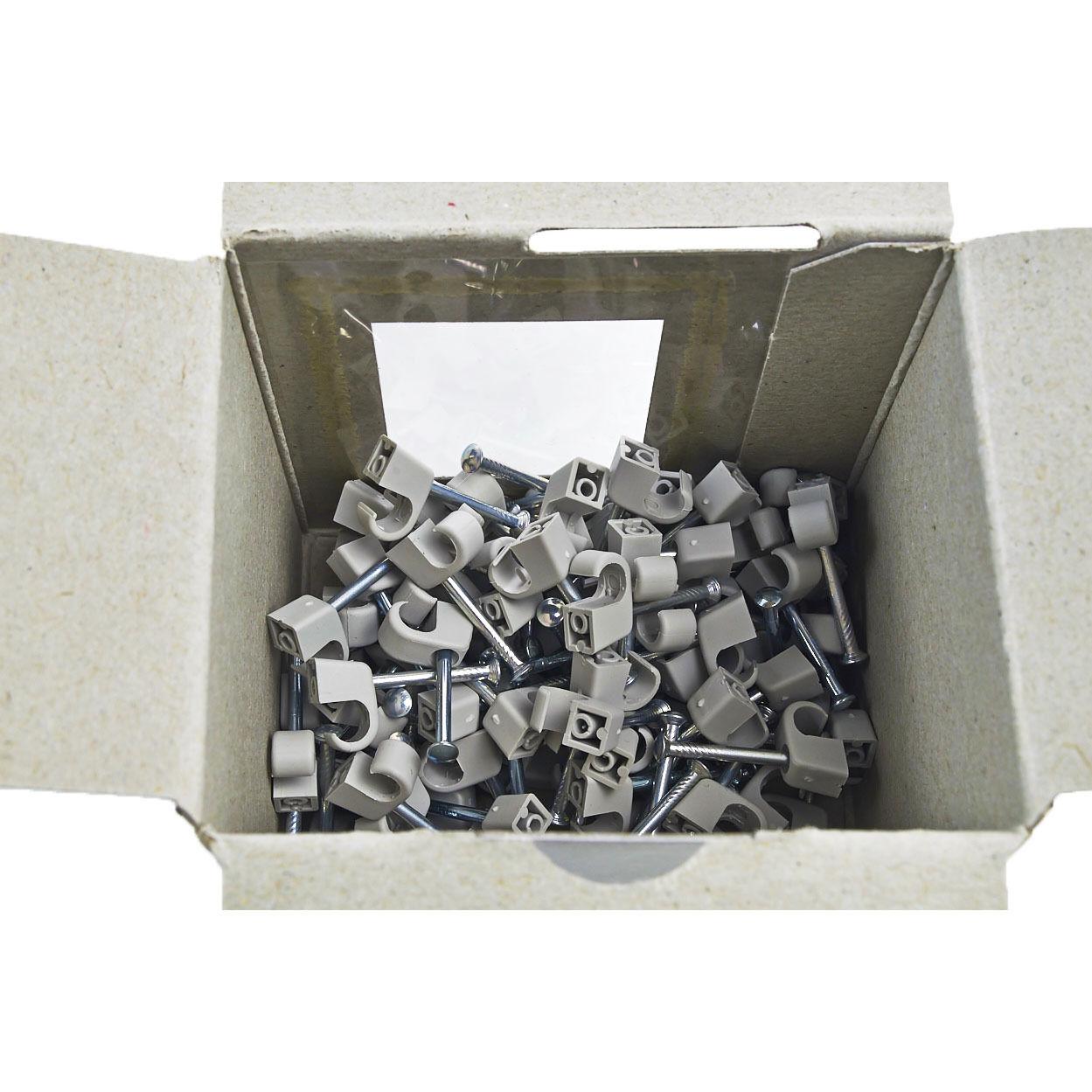 Nagelschellen flexibel für Kabel Ø7-11 mm  grau mit Nägeln 35mm 100er
