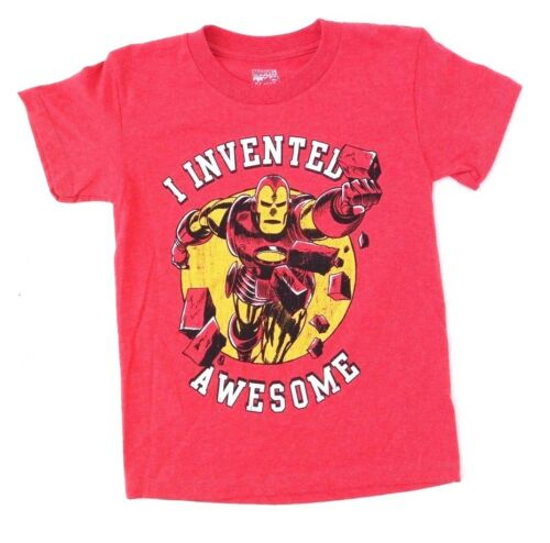 "Marvel Comics Iron Man /""I Invented Awesome/"" Heather Red Boys T-Shirt Sizes 4-7"