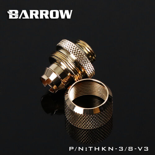 "Barrow Compression Fitting G1/4 Thread Gold For Flexible Tubing 3/8"" ID 5/8"" OD"