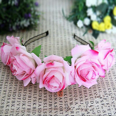 New Rose Flower Garland Head Band Crown For Bride Flower Girl 3 Colors
