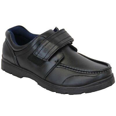 Ausdauernd Mens Black Smart Work Walking School Strap Up Shoes,sizes 6-12 Dogey2