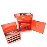 Werkzeugwagen + Aufsatz Große Tür Werkzeugkiste Rot 5 Schubladen Werkstattwagen