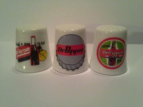 Up4Bid Set of 3 Dr Pepper Collectible Porcelain Thimbles