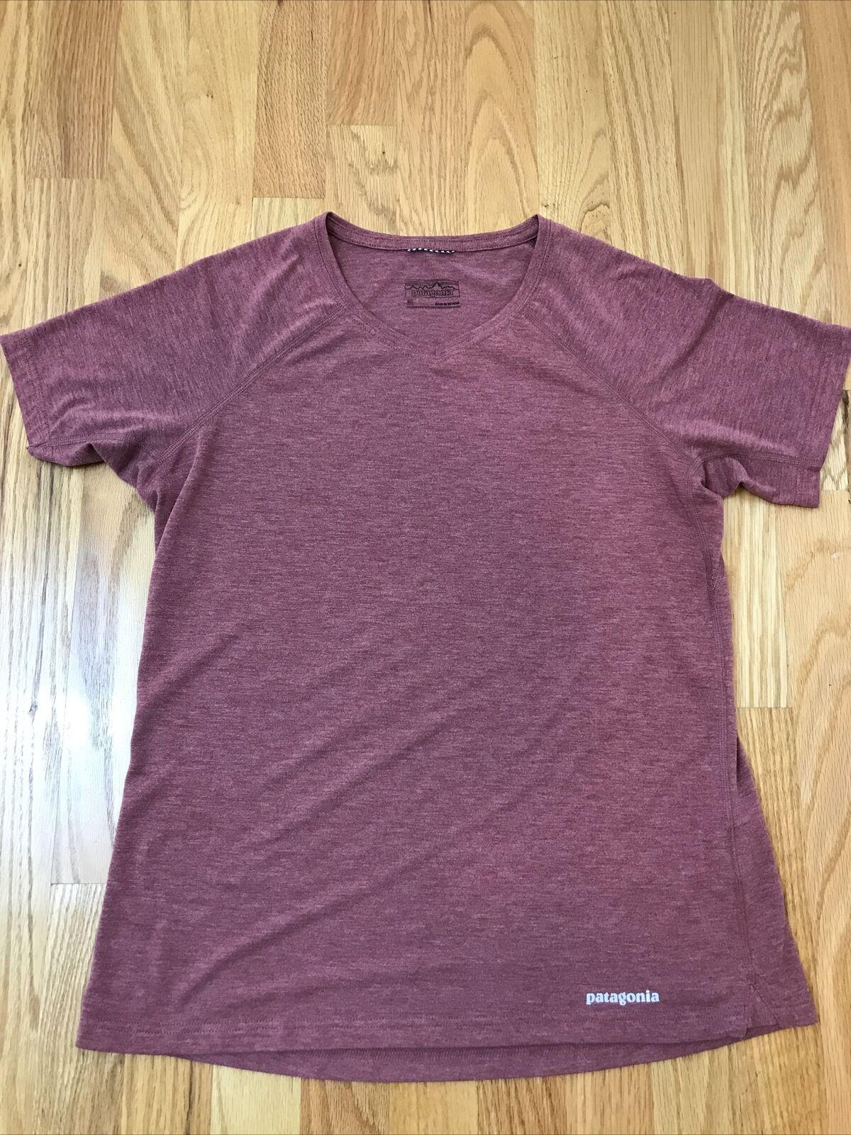 Patagonia Women's Running V-Neck T Shirt Pink Athletic Yoga Gym Sz Medium