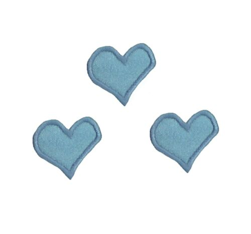 Trio Satin Mini Hearts Sew /'n/' Iron on Patch Motif *Choice of colours*